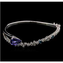 2.27 ctw Tanzanite and Diamond Bangle Bracelet - 14KT White Gold