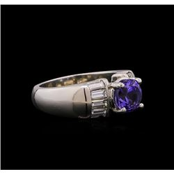 Platinum 1.63 ctw Tanzanite and Diamond Ring