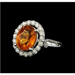 6.19 ctw Mandarin Spessartite and Diamond Ring - 14KT White Gold