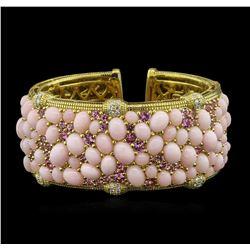 48.60 ctw Pink Opal, Pink Sapphire and Diamond Bracelet - 18KT Yellow Gold