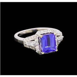 14KT White Gold 2.29 ctw Tanzanite and Diamond Ring
