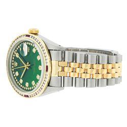 Rolex Mens 2T Green String Diamond & Ruby Datejust Wristwatch