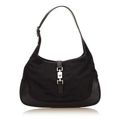 Gucci Black Nylon Fabric Leather Jackie Bag