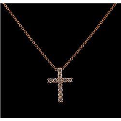 0.39 ctw Diamond Cross Pendant With Chain - 14KT Rose Gold