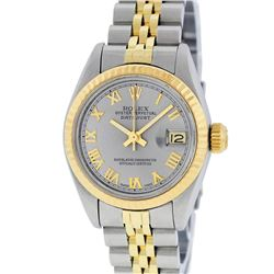 Rolex Ladies 2T Yellow Gold & Stainless Steel Slate Grey Roman Datejust Wristwat