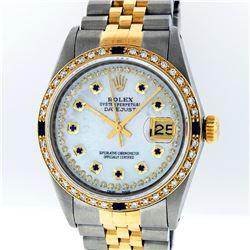Rolex Two Tone Diamond and Sapphire DateJust Men's Watch