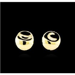 Glossy and Satin Round Post Earrings - Gold Plated
