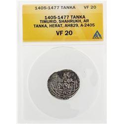 1405-1477 Tanka Timurid Shahrukh AR Tanka Herat AH829 A-2405 Coin ANACS VF20