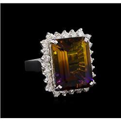 11.52 ctw Ametrine Quartz and Diamond Ring - 14KT White Gold