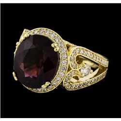 7.38 ctw Rhodolite and Diamond Ring - 14KT Yellow Gold
