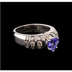 0.96 ctw Tanzanite and Diamond Ring - 14KT White Gold