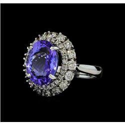 6.82 ctw Tanzanite and Diamond Ring - 14KT White Gold