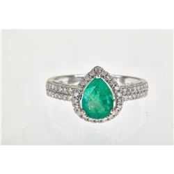 1.79 ctw Emerald and Diamond Ring - 18KT White Gold