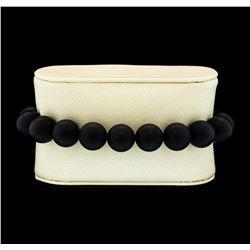 Silver Bead Bracelet with Diamond Clasp