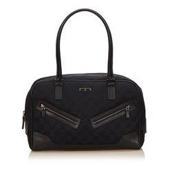 Gucci Black Fabric Canvas Leather Jacquard Shoulder Bag