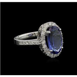 3.37 ctw Tanzanite and Diamond Ring - 14KT White Gold