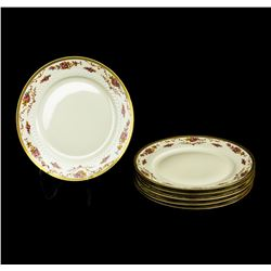 TIRSCHENREUTH Dinner SERVICE FOR 6  china Pink roses, gold rimmed FLOWERS 18-pie