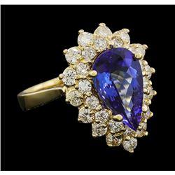 3.15 ctw Tanzanite and Diamond Ring - 14KT Yellow Gold