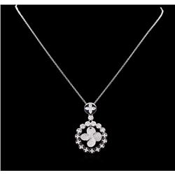 1.20 ctw Diamond Pendant With Chain - 14KT White Gold
