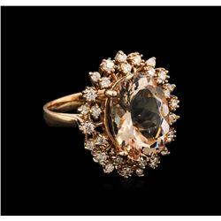 8.58 ctw Morganite and Diamond Ring - 14KT Rose Gold