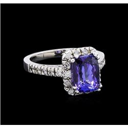 3.30 ctw Tanzanite and Diamond Ring - 14KT White Gold
