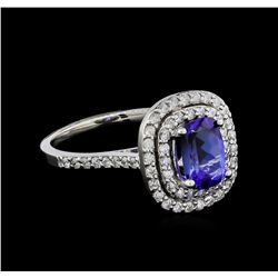 1.42 ctw Tanzanite and Diamond Ring - 14KT White Gold