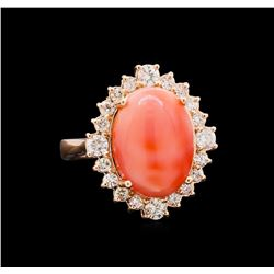 8.10 ctw Pink Coral and Diamond Ring - 14KT Rose Gold