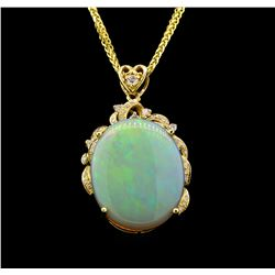 14KT Yellow Gold 8.71 ctw Opal and Diamond Pendant With Chain