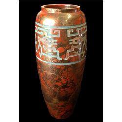 Oriental Chased Bronze Marbled Vase
