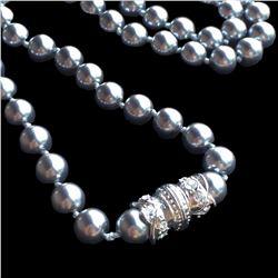 Vtg Nolan Miller Grey Pearl Silver Rhinestone Clasp Designer Signed Necklace -19