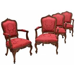 (4) Louis Xv Style Carved Back Arm Chairs