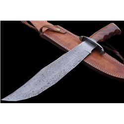 Damascus Knife Custom Handmade - 17.50 Inches WALNUT WOOD HANDLE BOWIE