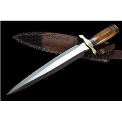 Custom Handmade D-2 Steel Knife ROSE WOOD AND BRASS With Leather Sheath