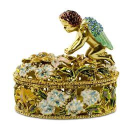 """2.75"""" Crystal Wings Angel With Flowers Rosary Keepsake Box"""
