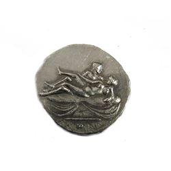 Vintage Roman Greek coin silver tone Repro Tetradrachm Nude XIIII