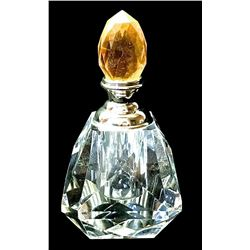 Lead Crystal Perfume Bottle Gold 8015YL Faceted Glass Decorative Dauber Decor