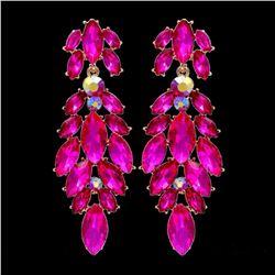 18k Gold Plated Fuchsia Crystal Rhinestone Chandelier Drop Dangle Earrings