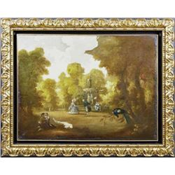 Continental School, Garden Scene Painting