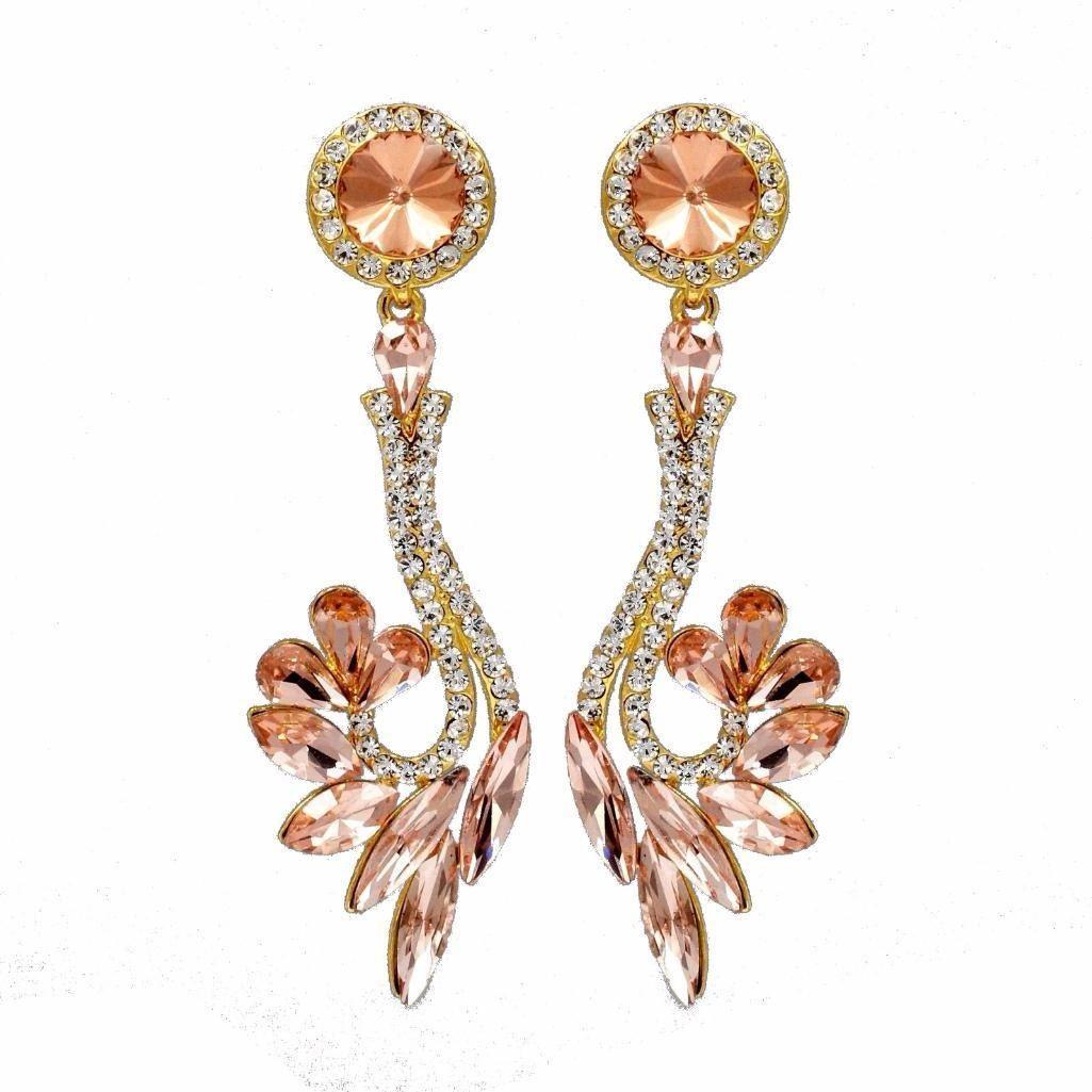 3440960d9060 Image 1   18k Gold Plated Gp Peach Crystal Rhinestone Wedding Drop Dangle  Earrings ...