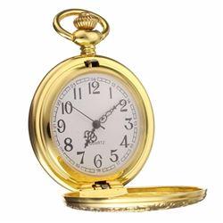 Vintage Antique Gold Shield Pendant Quartz Pocket Watch Necklace Retro Chain Us