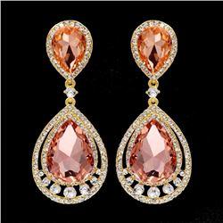 18k Gold Plated Gp Peach Crystal Rhinestone Wedding Drop Dangle Earrings
