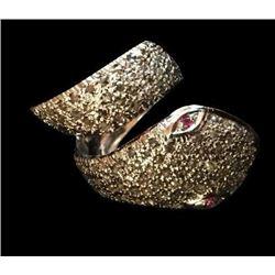 Ruby & Rose Cut Diamond Sterling Snake Ring