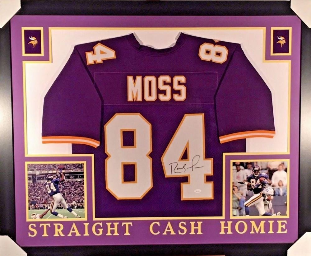 info for a27bc 6a8b6 Randy Moss Signed Vikings 35x43 Custom Framed Jersey ...