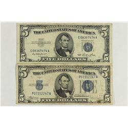 1934-C & 1953 $5 SILVER CERTIFICATES BLUE SEALS