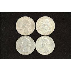 1957-D,59-D,62-D & 64 WASHINGTON SILVER QUARTERS