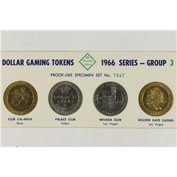 4-DOLLAR GAMING TOKENS 1966 SERIES GROUP 3 (PFL)