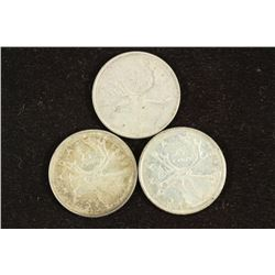 3 ASSORTED CANADA SILVER 25 CENTS