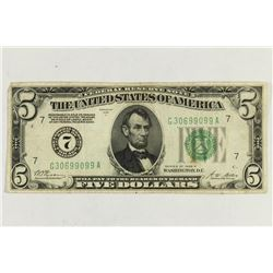 1928-A $5 FRN REDEEMABLE IN GOLD ON DEMAND