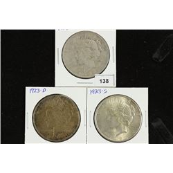 1923-P/D/S PEACE SILVER DOLLARS