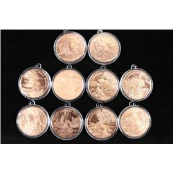 10 AMERICAN WILDLIFE SERIES COPPER ROUNDS